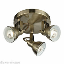 Searchlight 1543AB Focus Antique Brass 3 Light Spotlight
