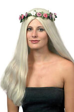 60's Titania Long Blonde Hippie Wig with Flower Halo Headdress