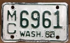 🏍 MOTORCYCLE•1963•( WASHINGTON ) MC 6961 LICENSE PLATE•VINTAGE•ORIGINALS