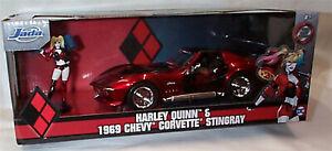 Harly Quinn & 1969 Chevy Corvette Stingray 1-24 Diecast Car (Joker) Jada 31196
