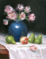 """ORIGINAL Contemporary OIL PAINTING Still Life 11"""" x 14"""" PEARS Signed REALISM"""