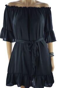 ONLY Sommer Kleid Carmen Tunikakleid mit Volants Schwarz 38 40 42 NEU