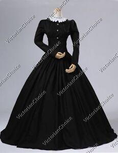 Black Victorian Civil War Dickens' Fair Maid Steampunk Dress Theater Gown 316