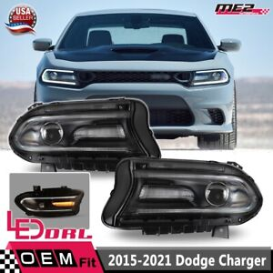 Fit 2015-2021 For Dodge Charger Projector LED DRL Replacement Head Lights Set