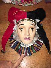 Art Pottery Wall Hanging Porcelain Face Mask Jester With Original Bells USA
