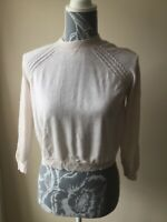 Atmosphere Womens Cropped Jumper Size 8 Ivory White 3/4 Sleeved Viscose Cotton
