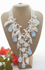 """18""""  4Strds Pearl Crystal Shell Jade Flower Necklace"""
