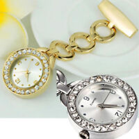 AM_ NE_ Rhinestone Stainless Steel Nurse Watch Brooch Tunic Fob Watch Quartz Del