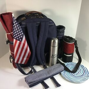Picnic At Ascot Patriotic Backpack! Insulated Gourmet Service For 2 + Extras! LN