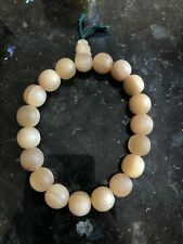 Vintage Chinese Hand Carved Ox Horn 19 Beads Bracelet