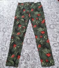 "Adidas Neo Womens W26"" L30 Waist Jeans. Dark Green Tropical Design Trousers.BNWT"