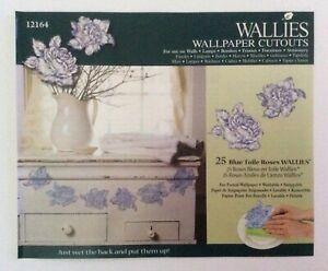 Wallies Wallpaper Cutouts 25 X Blue Toile Roses Wall Decal Furniture Decoupage