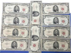 10X1963 $5 Red Seal US Notes Currency Collection $5 1963. #1