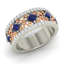14K Solid Yellow Gold 1.40Ct Natural Diamond Real Sapphire Ring Round Cut Size M