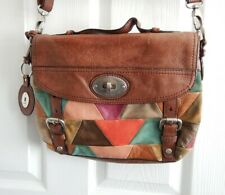 FOSSIL Bag Womens Satchel Brown Leather Multicoloured Patches *Needs Repair*