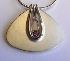 Inspired by Bauhaus Furniture 1920s Germany Ola Gorie Silver Pendant Amethyst