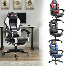Luxury Gaming Chair Office Seat Executive Padding Footrest Racing Leather