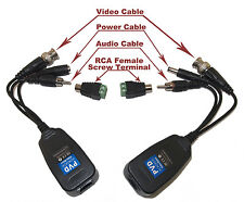 CCTV Camera Passive Power Video Audio Balun or PTZ Data via UTP RJ45 Cat5 Cable