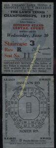 1937 Rare Original WIMBLEDON LAWN TENNIS CHAMPIONSHIPS ticket, June CENTRE COURT