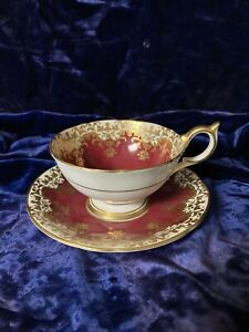 Aynsley Cup And Saucer, Red/Burgundy With Gold Accents, England