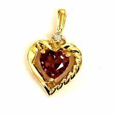 10k yellow gold .02ct diamond pink tourmaline heart pendant charm 1.9g vintage