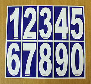 4 x White numbers on Blue background - Euro-Rotax-OTK-X30 Karting Race Numbers