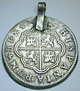 1700's Antique Pendant Spanish Silver 2 Reales Old Two Bits Colonial Pirate Coin