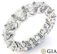 5.02 ct Round Diamond Ring 14k Gold Eternity U Band D-E Vs Gia sz 4 0.35 ct each
