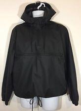 Men's H&M Hooded Shell Anorak Jacket Black 1/4 Zip Neck Size M