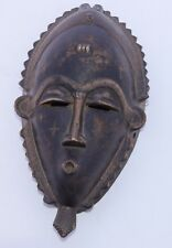 African Wood Carved Face Mask Hanging Handmade Brown Vintage