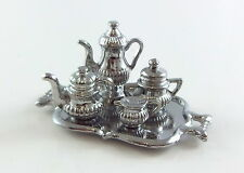 Dolls House Miniature Dining Room Accessory Silver Tea Coffee Set & Tray
