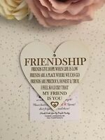 Personalised Laser Engraved Wooden Hanging Heart Friendship Gift Best Friends