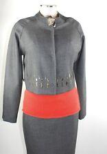 Apriori Jacke 38 grau Blazer Sakko Polyester Kostüm jacket Applikationen neu