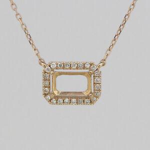 "14K Rose Gold & Diamond Semi Mount Pendant Setting Oct 7x5mm Halo 18"" Chain"