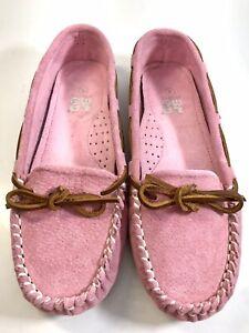 Lamo Womens Size 8 Pink Rose Britain Moc II Fleece Moccasin Slipper Flats NEW