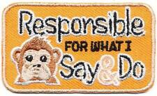 Girl Boy Cub RESPONSIBLE FOR WHAT I SAY AND DO Patches Crests Badges SCOUT GUIDE
