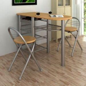 Küchenbar klappbar mit 2 Stühlen Bistrotisch Küchentisch Bartisch Esstisch Set