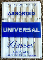 KLASSE SEWING MACHINE NEEDLES Universal, Jeans & Sharps BEST GERMAN NEEDLES