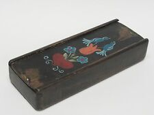 ENCHANTING EARLY 20 c ANTIQUE HAND PAINTED FOLK ART WOOD PENCIL BOX