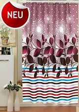 "Textil Duschvorhang 180 x 200 cm  ""Bordeaux Ranke""  inkl. Ringe Weiss Violette"