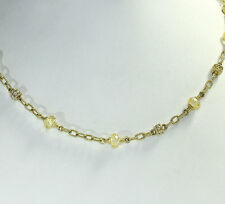 Judith Ripka Couture diamond citrine 18K y/g necklace FVS round rondelles 1.35CT