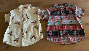 2 x Boys size 1 CHRISTMAS Santa Rudolph prints short sleeve summer shirts  NEW