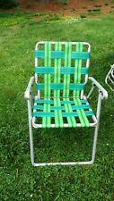 VINTAGE ALUMINUM Folding WEBBED LAWN  HAIR Green Metal Arms
