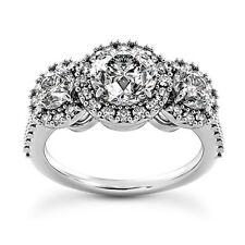 Halo Three Stone 2.08 Carat SI1/G Round Diamond Engagement Ring 14K White Gold