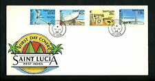 Postal History St. Lucia FDC #914-917 Communications cable microwave dish 1988