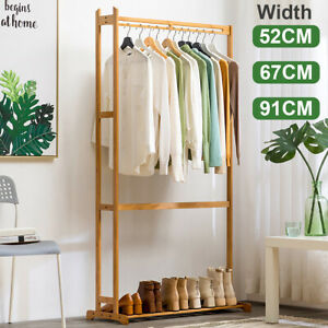 Clothes Rack Coat Hat Garment Shelf Stand Bamboo Hanger Holder Home Organizer