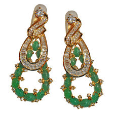 JARIN Gold plated Sterling Emerald & Double Baquette Clip Earrings