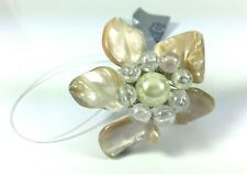 Suzie Blue Chunky Cream Shell & Faux Pearl Flower Adjustable Statement Ring
