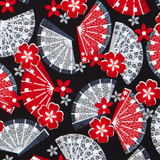 Kanvas Studios LITTLE HARAJUKU Oriental Japanese Fan Fabric - Black
