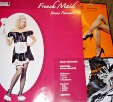 French Maid Costume Lot Dress,Head Piece,Apron,Garter,Hose-Womens One Size